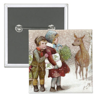 Children Encounter Deer on Snowy Day Vintage Buttons