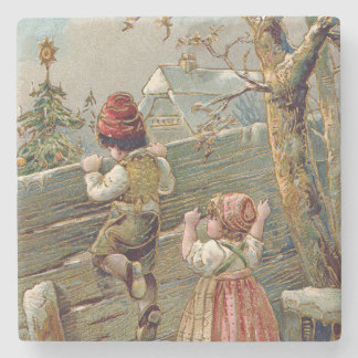 Children Fence Christmas Tree Winter Cottage Stone Coaster