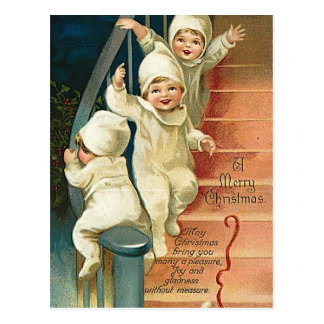 Children filled with joy of Christmas Postcard