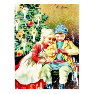 Children getting ready for Christmas night by prep Post Cards