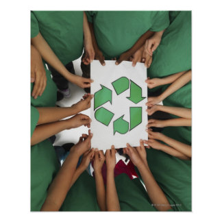 Children holding recycling sign poster