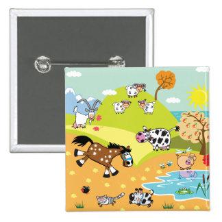 children illustration 15 cm square badge