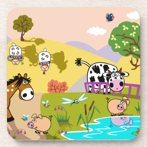 children illustration beverage coasters