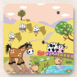 children illustration drink coaster