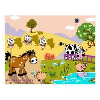 children illustration postcard