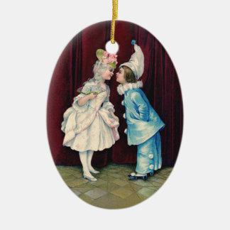 Children in 18th C Costume Ornament, vintage print Ceramic Oval Decoration