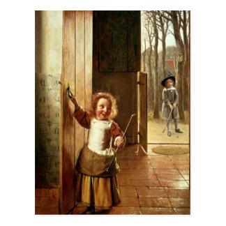 Children in a Doorway with 'Colf' Sticks Postcard
