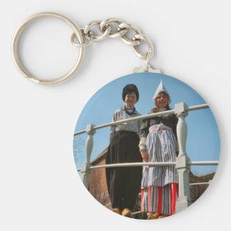 Children in Dutch National Costume Basic Round Button Key Ring