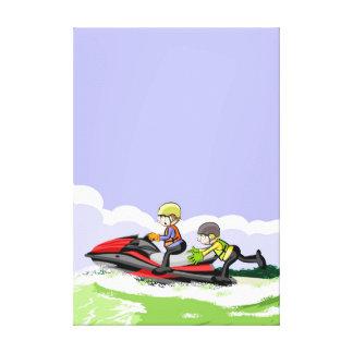 Children in its jet ski doing acrobatics in the canvas print