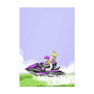 Children in jet ski doing pirouettes in the sea canvas print