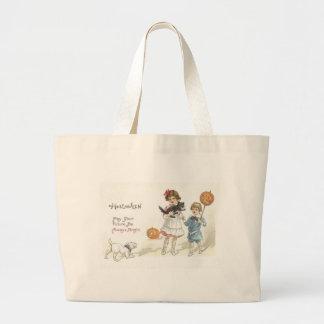 Children Jack O' Lantern Black Cat Dog Jumbo Tote Bag