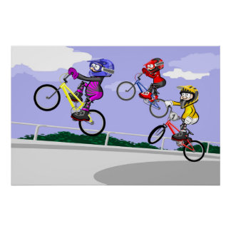 Children jumping with bicycles BMX Poster