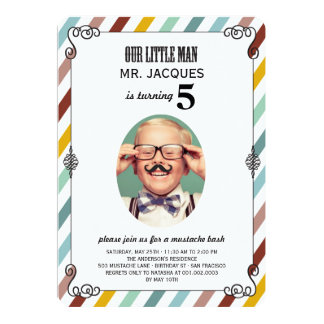 Children Kids Mustache Birthday Party Photo Invite
