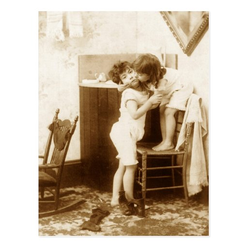 Children Kissing Postcard