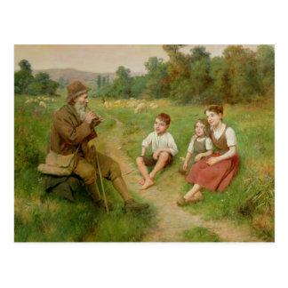 Children Listen to a Shepherd Playing a Flute Postcard