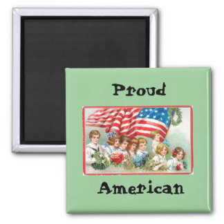 Children Marching with Flag Square Magnet