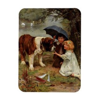 Children Meeting a Saint Bernard Dog, Magnet