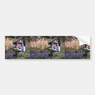 Children netting in pond on Two Ponds National Wil Bumper Sticker