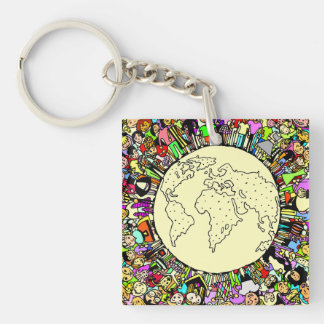 Children of the World Double-Sided Square Acrylic Key Ring