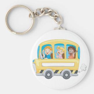 Children On A School Bus Keychain