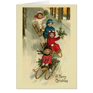 """""""Children on Sleds"""" Christmas Card"""