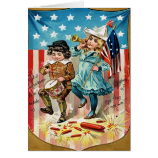 Children Parade American Flag Vintage 4th of July Greeting Cards
