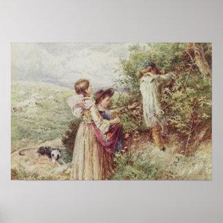 Children picking blackberries, 19th century poster