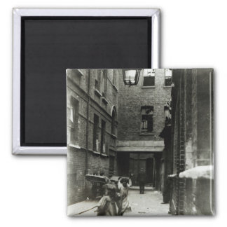 Children playing in a slum, 1899 square magnet