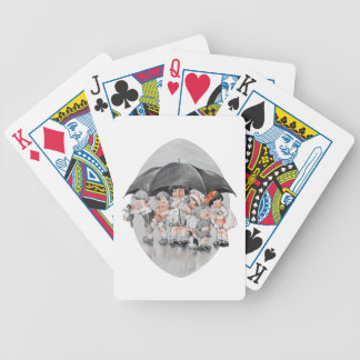 Children Playing in the Rain Holding Umbrellas Bicycle Playing Cards