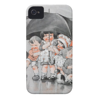 Children Playing in the Rain Holding Umbrellas Case-Mate iPhone 4 Case