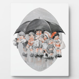 Children Playing in the Rain Holding Umbrellas Display Plaques
