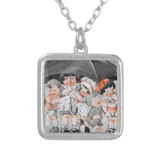 Children Playing in the Rain Holding Umbrellas Silver Plated Necklace
