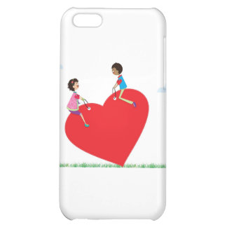 children playing on a heart shaped see-saw iPhone 5C cases