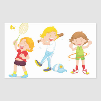 Children Playing Sports Stickers