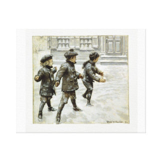 Children Playing with Snow  Vintage Wrapped Canvas Stretched Canvas Print