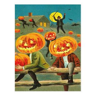 Children Pumpkin Jack O' Lantern Trick R Treat Postcard