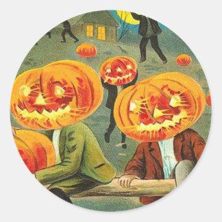 Children Pumpkin Jack O' Lantern Trick R Treat Round Sticker
