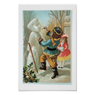Children putting pipe in snowman s mouth Christmas Posters