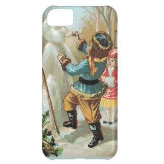 Children putting pipe in snowman's mouth,Christmas iPhone 5C Covers