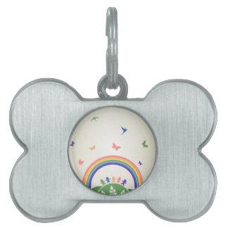 Children rainbow pet tag