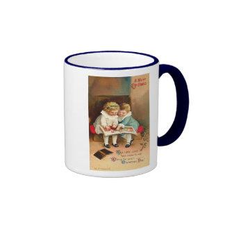 Children Reading Book Christmas Card Ringer Mug