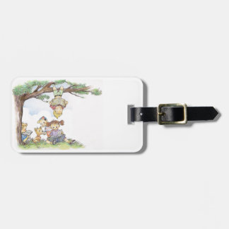 Children reading books luggage tag