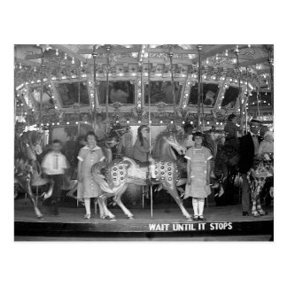 Children Riding Carousel, 1925 Postcard