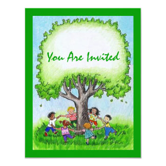 CHILDREN RING-AROUND BIRTHDAY PARTY INVITATION