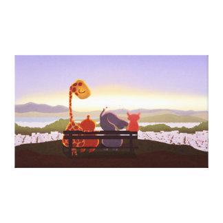 Children s Animal Sunset Art Grandview Ext Large Canvas Print