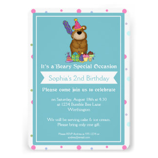 Children s Birthday Party Teddy Bear d2 Invites