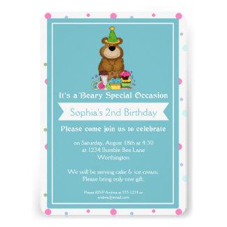 Children s Birthday Party Teddy Bear d3 Custom Announcement