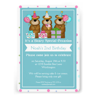 Children s Birthday Party Three Bears Design Personalized Invites