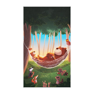 Children s Forest Animals Art Bear Down Large Gallery Wrapped Canvas