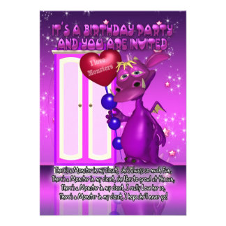 Children s Monster Birthday Party Invitation With